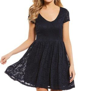 Sequin Hearts Lace Fit and Flare Blue Dress